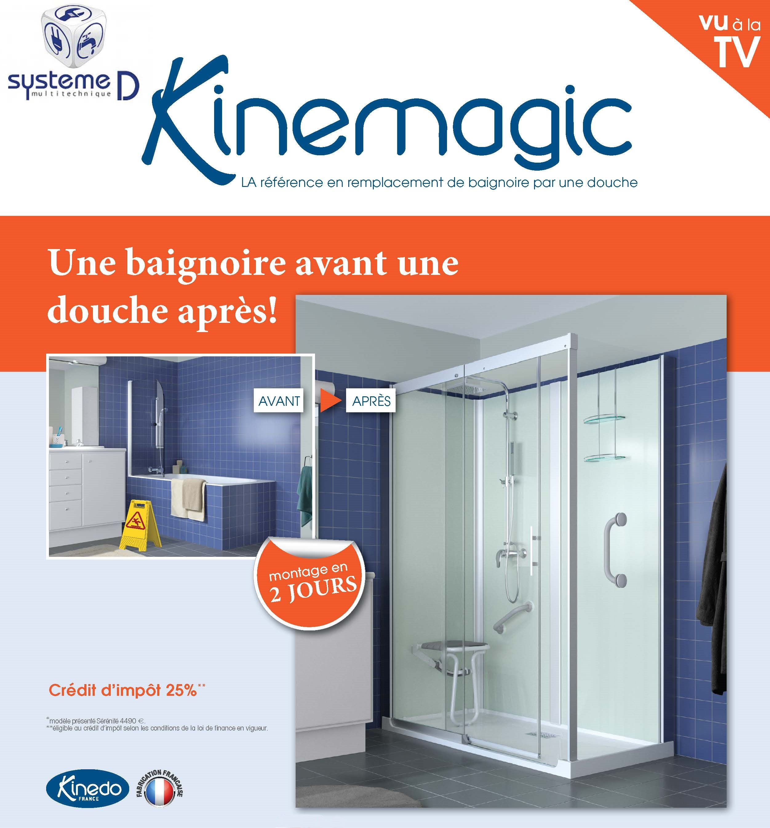 remplacement d 39 une baignoire par une douche kinemagic de. Black Bedroom Furniture Sets. Home Design Ideas